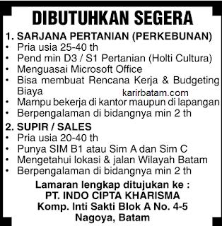 Lowongan Kerja PT. Indo Cipta Kharisma