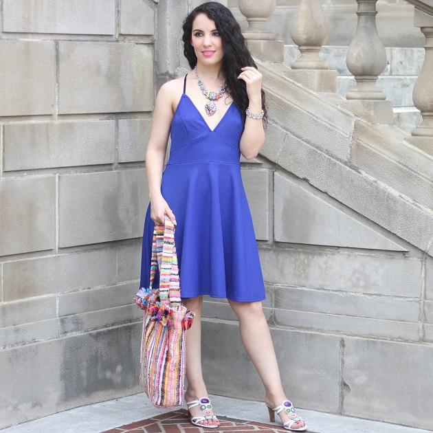 Dark Blue V Neck Dress