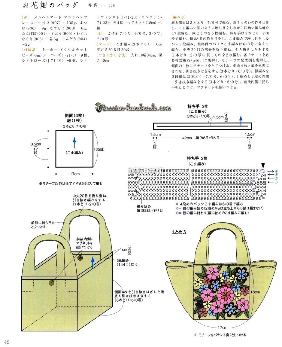 Схемы вязания летней шляпки и сумочки-мешка (2)