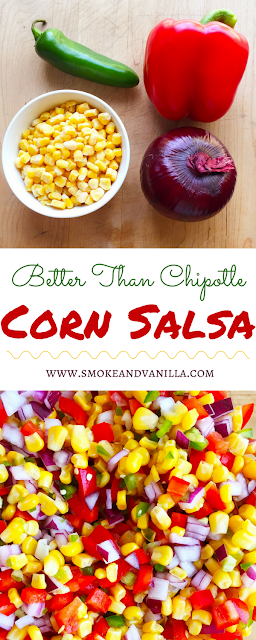 Better-Than-Chipotle Corn Salsa by www.smokeandvanilla.com - A healthy, fresh, and easy recipe featuring jalapeño, red bell pepper, red onion, and a hint of lime juice. Better than a copycat and delicious served as a dip with tortilla chips, on its own as a side dish, or on top of tacos. http://bit.ly/2olfujf