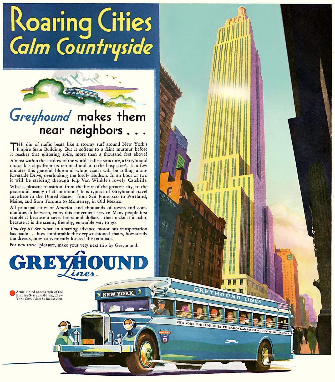 transpress nz: 1931 Greyhound bus advert