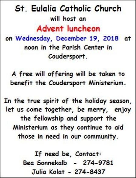12-19 St. Eulalia Catholic Church ADVENT LUNCHEON