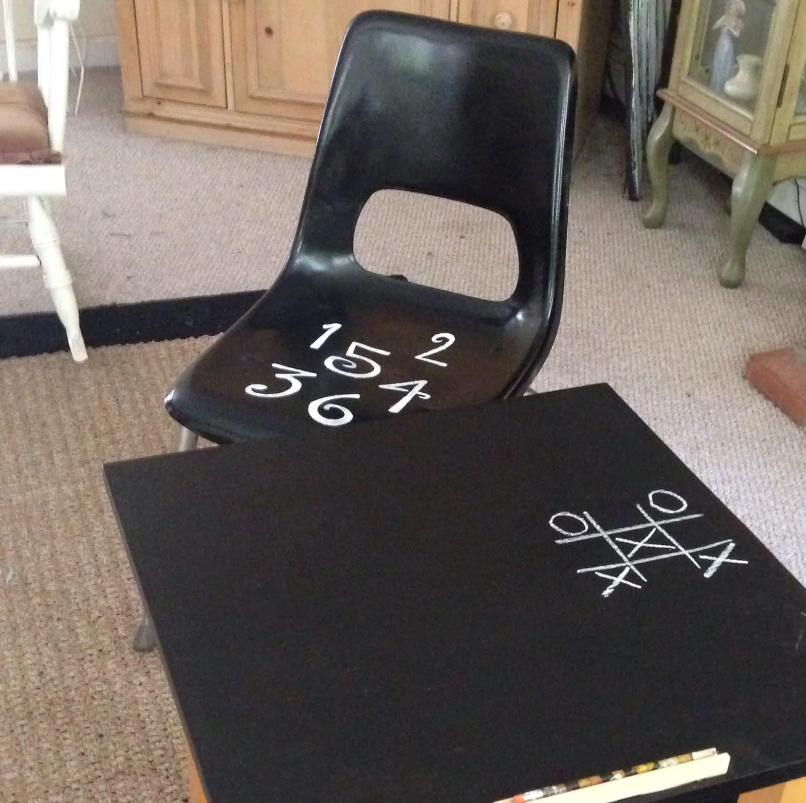 Child's Chalkboard Desk & Chair Finished