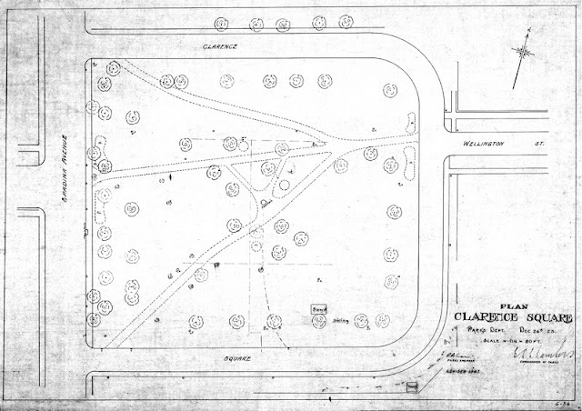 1923 City Parks Dept: Plan [of] Clarence Square, Toronto