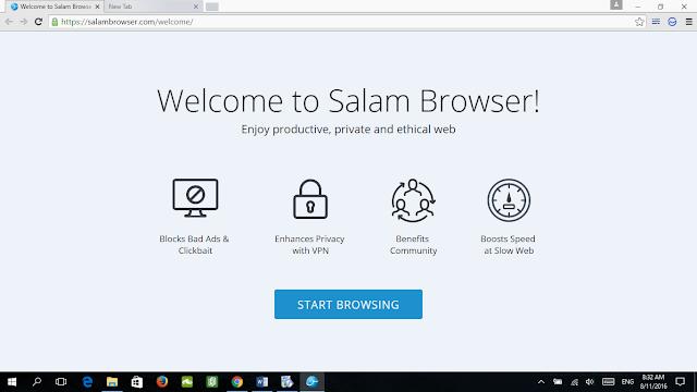 Pelayar web patuh syariah dan selamat, salam browser,