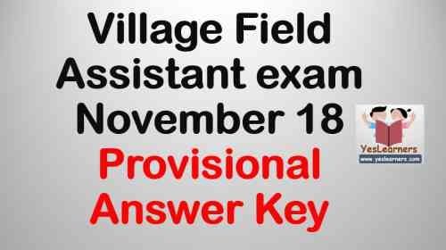 Village Field Assistant - November 18 - Provisional Answer Key
