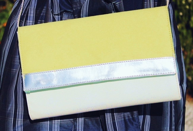 H&M white silver neon clutch purse