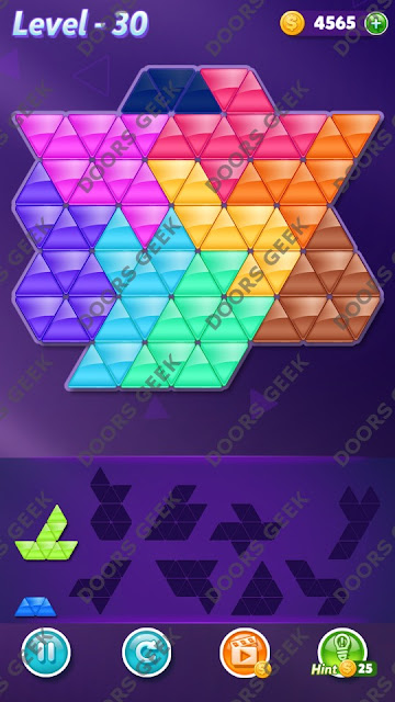 Block! Triangle Puzzle 9 Mania Level 30 Solution, Cheats, Walkthrough for Android, iPhone, iPad and iPod