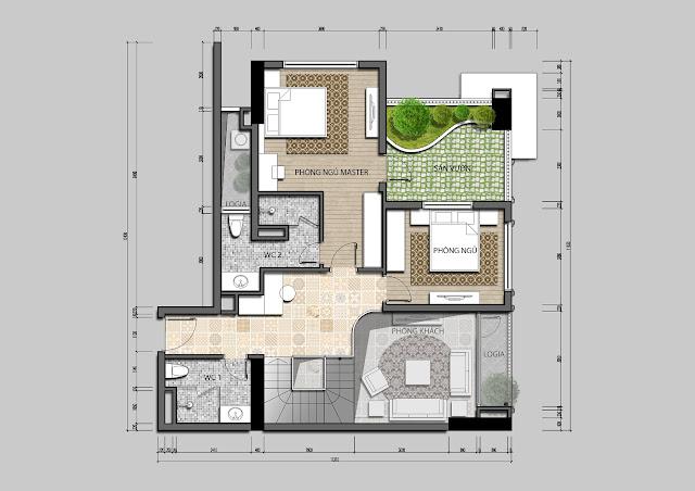 Thiết kế tầng 2 căn hộ Penhouse Iris Garden