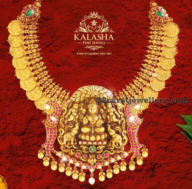 Kasu Necklace with Lakshmi Peacock Pendant