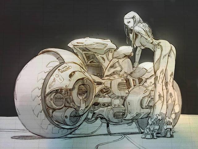 Cyberpunk Biker Girl Sketch
