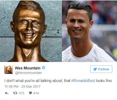 Cristiano Ronaldo's Airport Sculpture - reactions from twitter