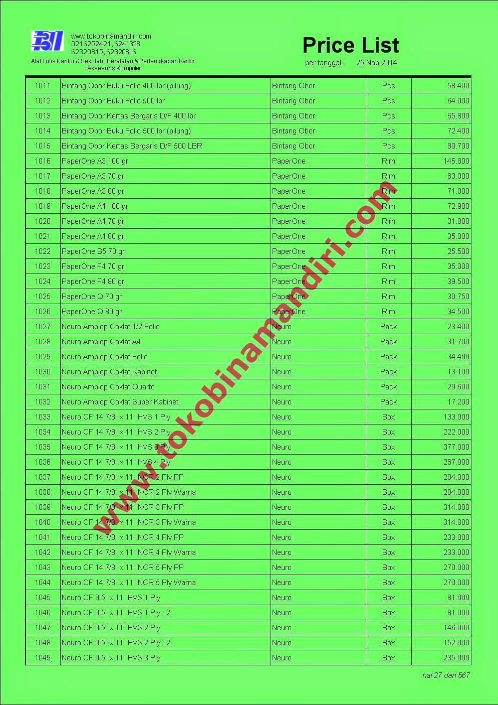 daftar harga peralatan sekolah | CV. Bina Mandiri - toko alat tulis kantor agen perlengkapan sekolah