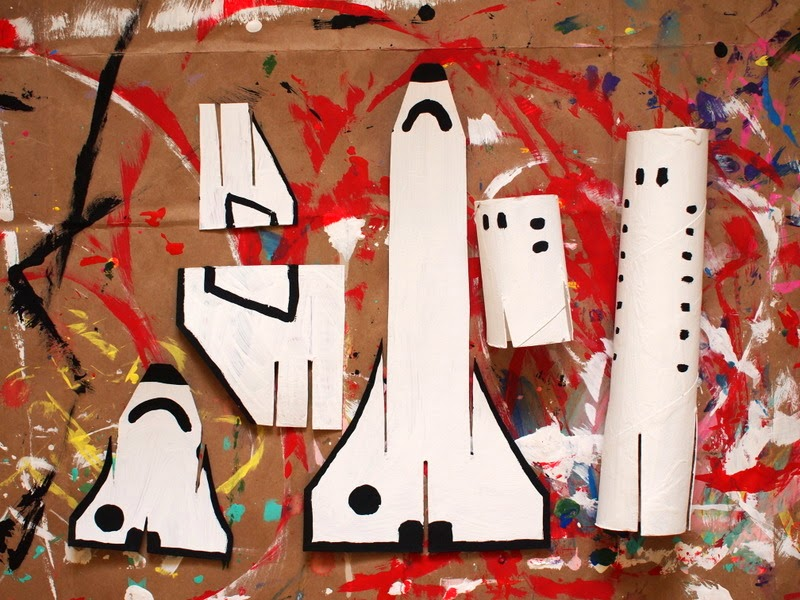 paint your cardboard space shuttle pieces