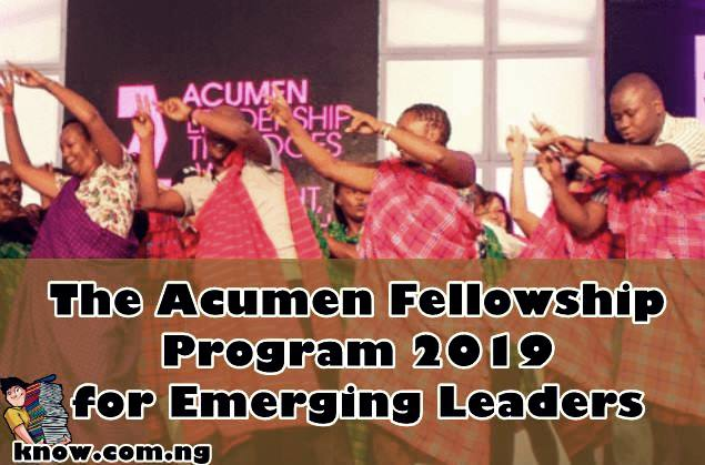 The Acumen Fellowship Program 2019 for Emerging Leaders