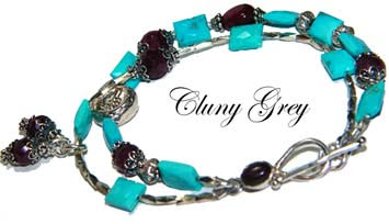 turquoise and ruby bracelet with sterling silver