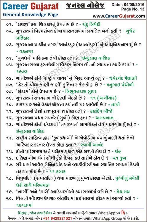 Career Gujarat General Knowledge Page - Dt. 04/08/2016