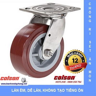 Bánh xe đẩy càng inox 304, bánh xe PU tải từ 270kg đến 405kg/bánh www.banhxedayhang.net