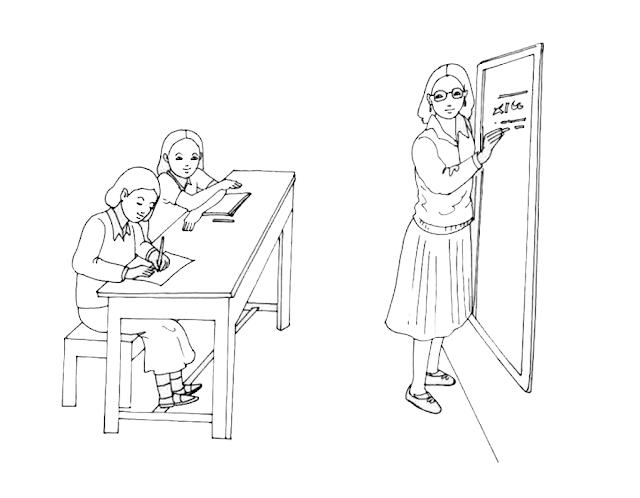 Gambar Mewarnai Kegiatan Belajar - 4