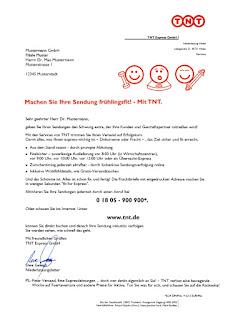 Text, Anschreiben, Briefe, Direktwerbung, Logistik, Post-Unternehmen, TNT Express, Zielgruppe, Geschäftskunden, Entscheider