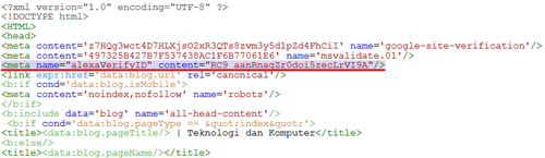 Letak kode HTML Alexa di bawah kode <head>