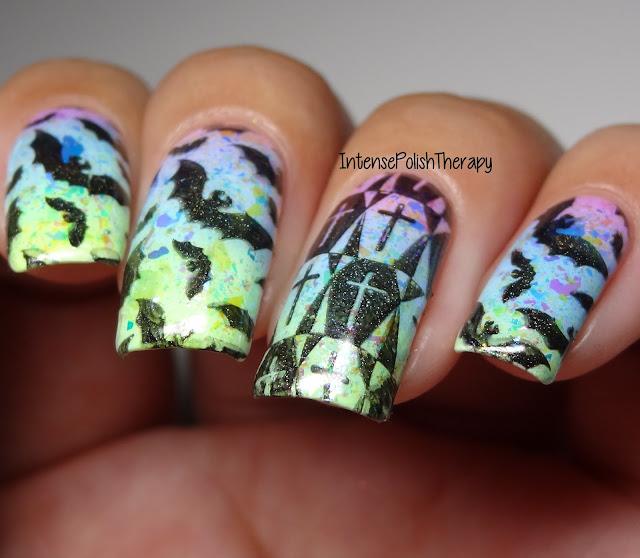 Pastel Goth/Halloween Manicure | Bats, Coffins & Sparkle