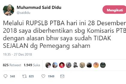BUMN Serasa Punya Rezim, Sering Kritik Pemerintah, Said Didu Dicopot dari Komisaris BUMN PT Bukit Asam