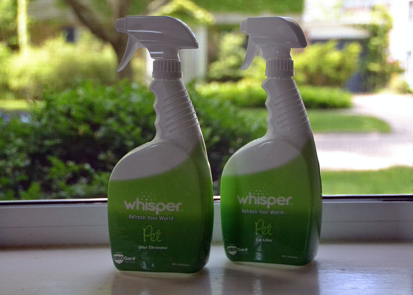 Whisper Pet Odor Eliminator removes pet odor rather than masking it