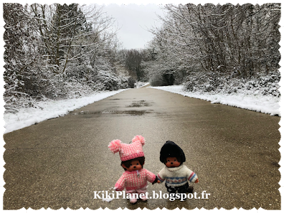 Kiki, Monchhichi, neige, montagne, hiver, jouet, vintage, peluche
