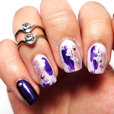 Abstract Amethyst Nail Art