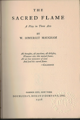 The Sacred Flame, Maugham 1928 title