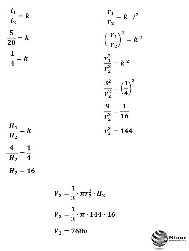 Stożek o wysokości  4 i polu powierzchni 24∏  jest podobny do stożka o tworzącej 20. Oblicz objętość stożka.