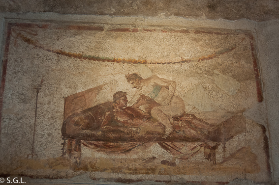 Frescos del Lupanar Pompeya, las ruinas de la ciudad romana