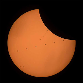 Composite image of ISS transiting the sun during the August 21 eclipse (Source: NASA/Joel Kowsky)