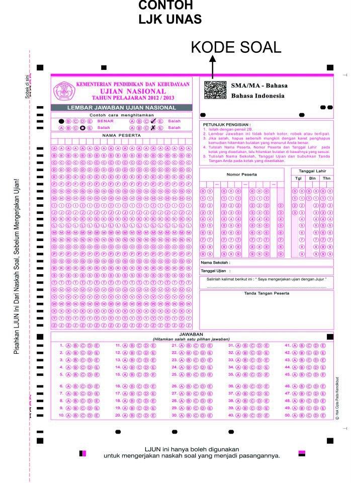 Berbagi Dan Belajar Contoh Lembar Jawaban Ujian Nasional 2013