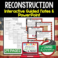 Reconstruction, American History Guided Notes, American History Interactive Notebook, Google and Print, American History Note Taking, American History PowerPoints, American History Anticipatory Guides