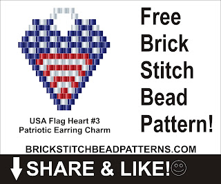 Free patriotic brick stitch seed bead pattern printable pdf.