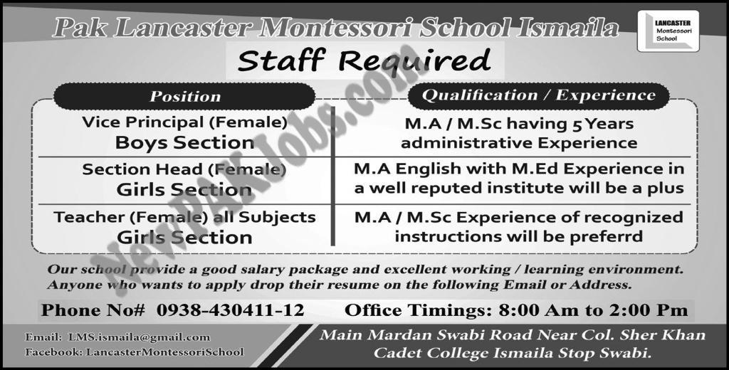 Jobs in Pak Lancaster Montessori School Ismaila Swabi