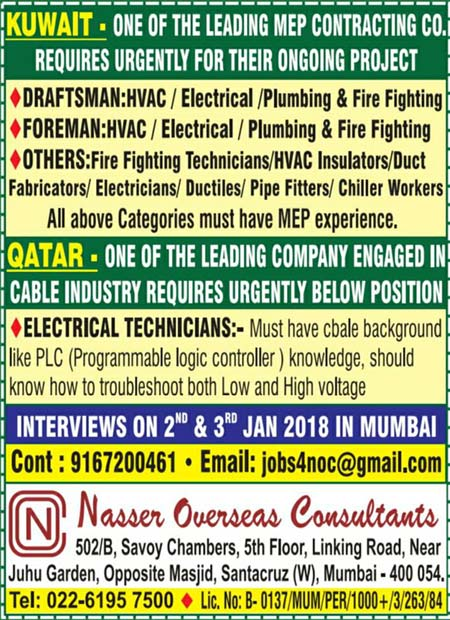 Kuwait & Qatar Job Opportunities - Nasser Overseas Consultants
