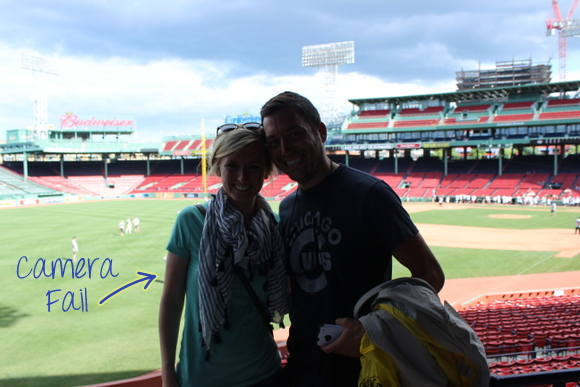 A honeymoon stop at Boston's Fenway Park is a fun place for newlyweds.
