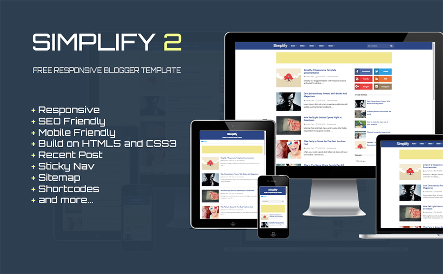 Simplify 2 Free Responsive Blogger Template - Gallery Blogger Templates
