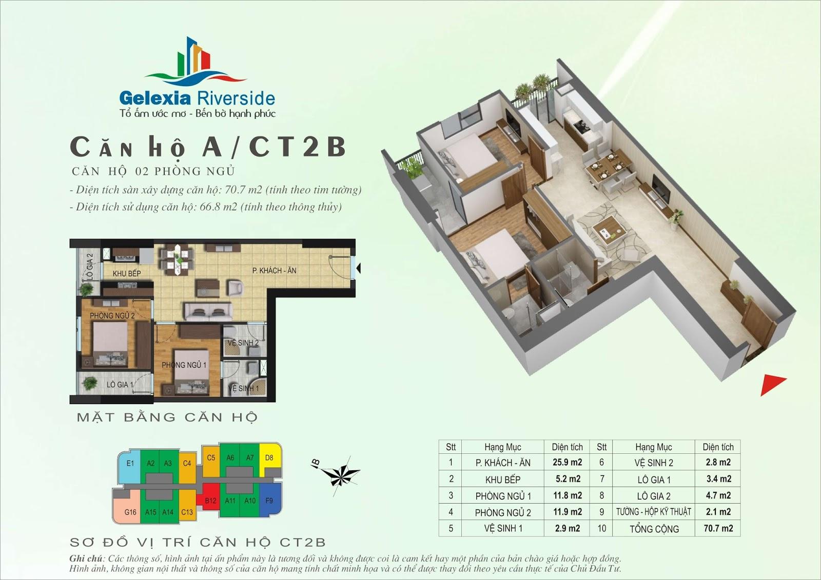 Mặt bằng căn hộ 70,7 m2 tòa CT2B - Gelexia Riverside