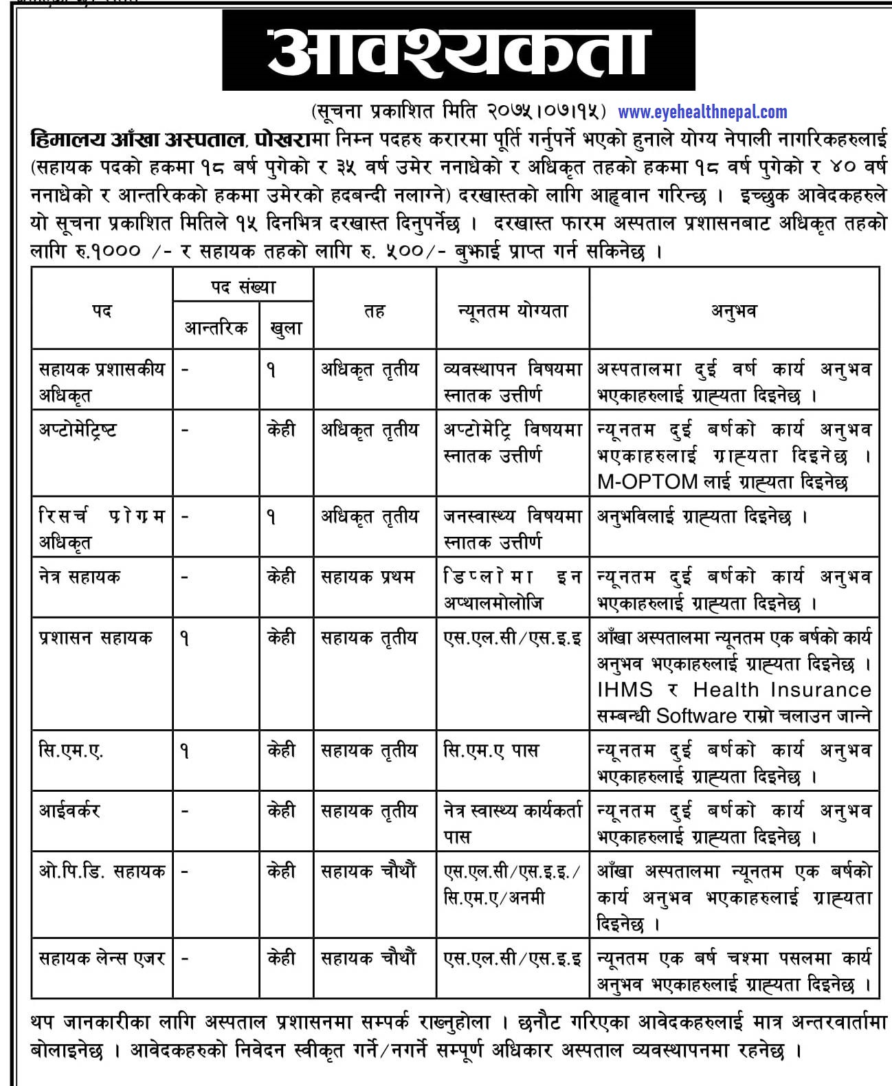 Himalaya Eye Hospital Vacancy