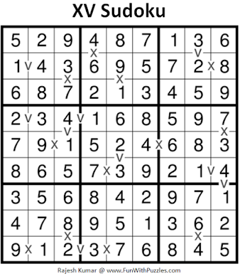 XV Sudoku (Fun With Sudoku #191) Answer