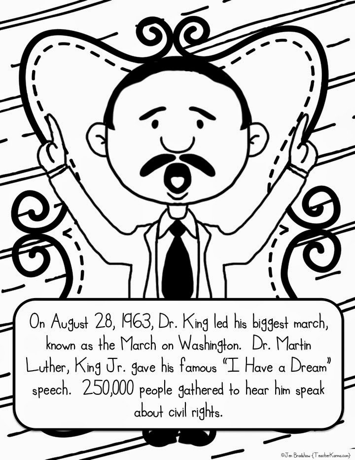 Martin Luther King, Jr. free worksheet and coloring pages.  TeacherKarma.com