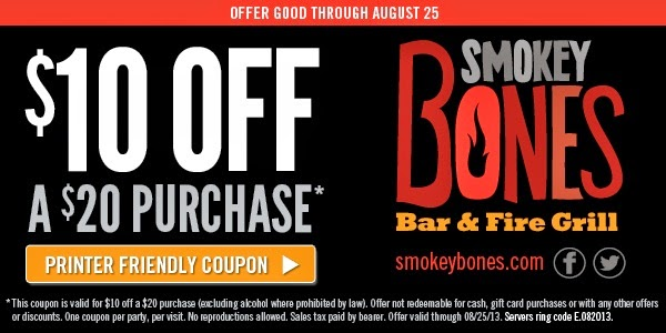 image relating to Northern Tool Coupon Printable named Smokey bones discount coupons july 2019