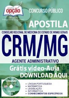 Apostila Concurso CRM Minas Gerais - Agente Administrativo 2017.