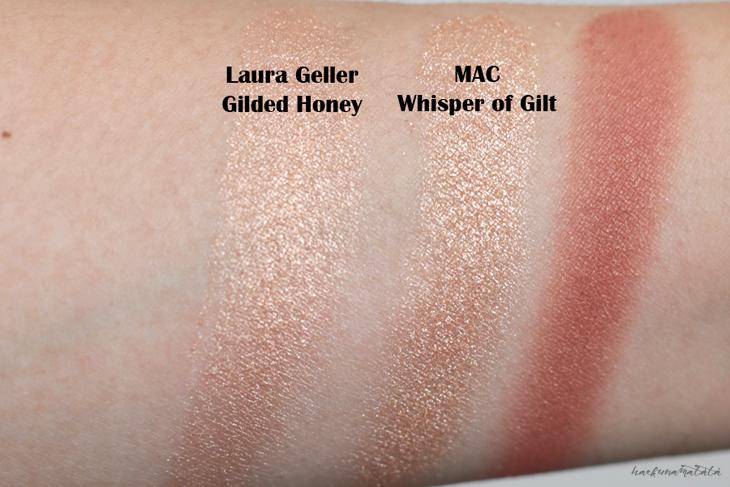 MAC Whisper of Gilt vs Laura Geller Gilded Honey