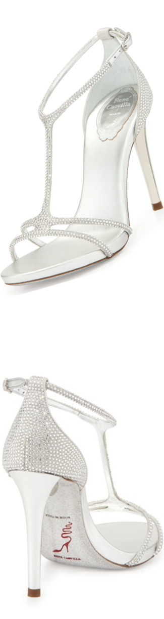 Rene Caovilla Leather/Satin T-Strap Strass Sandal, Silver