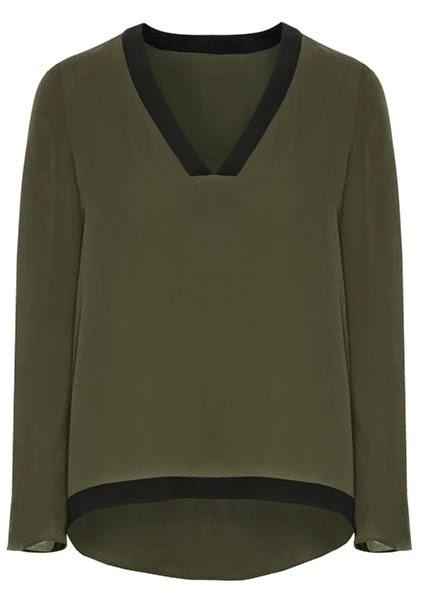 Jersey de color caqui con cuello en negro para mujer de Primark